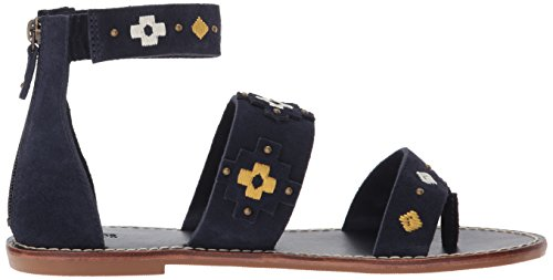 Soludos Women's Embroidered Three Banded Platform Flat Sandal Navy krxnExrp