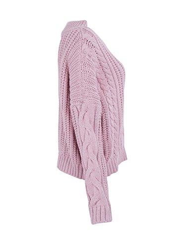 Simplee Apparel Damen Strickpullover Herbst Winter Warm V-Ausschnitt Oversize Kabel Sweater Oberteile Jumper Rosa LcWbe