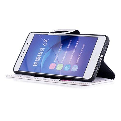 Trumpshop Smartphone Carcasa Funda Protección para Huawei Honor 6X + Lirio + PU Cuero Caja Protector Billetera con Cierre magnético [No compatible con Honor 6A y 6C] Panda Linda