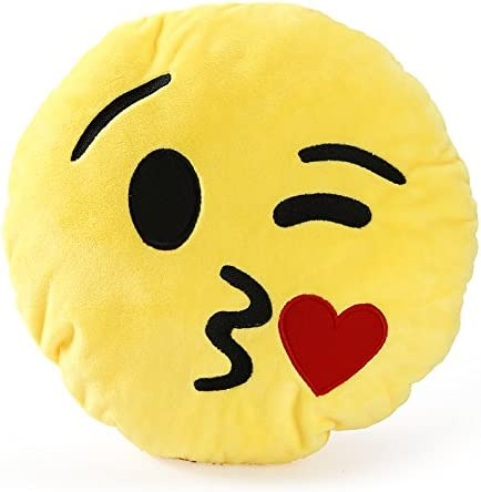 Emoji Plush Backpack Embroidery Stitched Yellow Cushioned Plush Bag Best For Gifting Kids Adults Teen Use For Traveling School Picnic Outing (Kiss Emoji Bag)