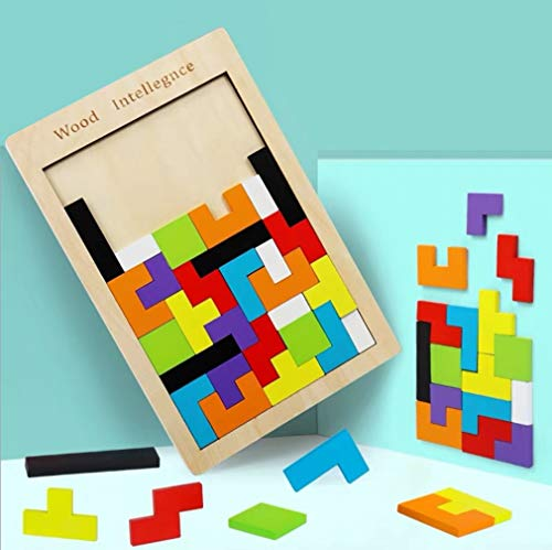 (MorTime Wooden Tetris Puzzle Brain Teasers Toy, 3D Russian Blocks Game and Tangram Jigsaw Intelligence Colorful, STEM Montessori Educational Gift for Baby)