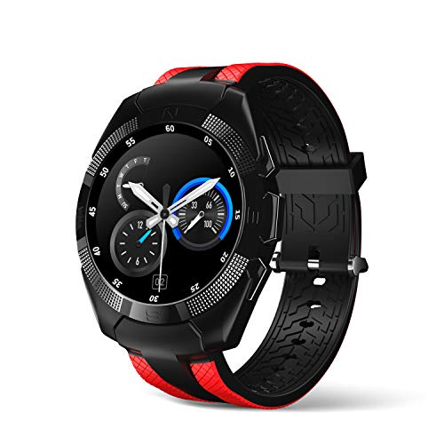Smart Watch,Wonbo Bluetooth Touchscreen Waterproof Sports Smartwatch, Music Player & Fitness Heart Rate Tracker Sleeping Monitor,Make Call/SNS Notification Watch Compatible with iOS and Android (Red)