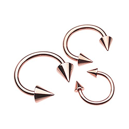 (Inspiration Dezigns 16G 8mm Rose Gold Circular Barbells Horseshoe Rings with Spike Ends)
