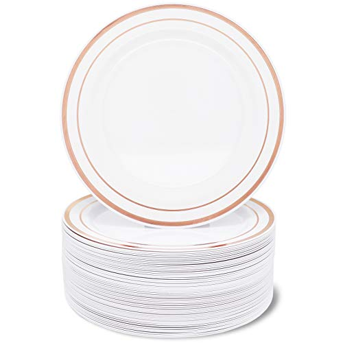 Juvale 50-Pack Elegant Plastic Appetizer or Dessert Plates for Wedding, Birthday, Bridal Shower, White with Rose Gold Rim, 7.5 Inches