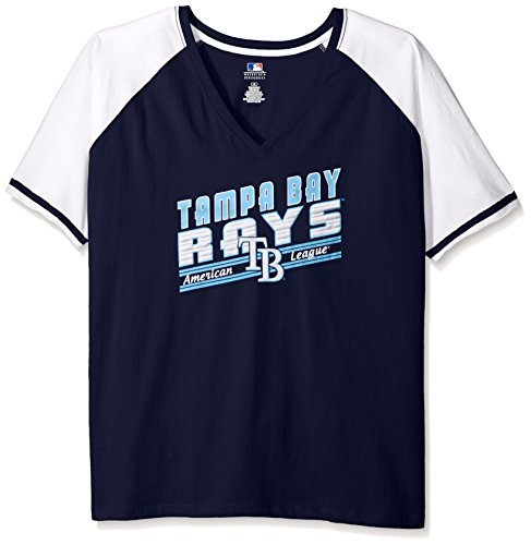 MLB Tampa Bay Rays Women's Team Short Sleeve Raglan T-Shirt with Arm Stripes, 2X, Navy/White – DiZiSports Store