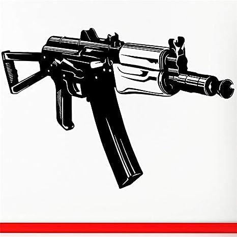 Etiqueta de la pared Vinilo Decal Machine Gun aks74u AK-47 ...