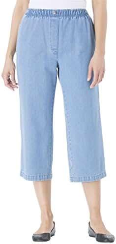 Women's Plus Size 100 Cotton Comfort Pull On Capri Jean