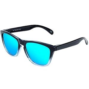 FEIDU Polarized Men Wayfarer Sunglasses Classic Mirror Eyewear Unisex FD 0628 (Gradual - Blue, 2.44)