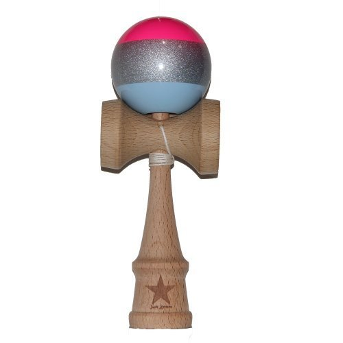 Pink Silver Blue Stripe Super Kendama, Super Sticky, Japanese Wooden Toy, Free String, USA Seller (Rasta Big Stripes)