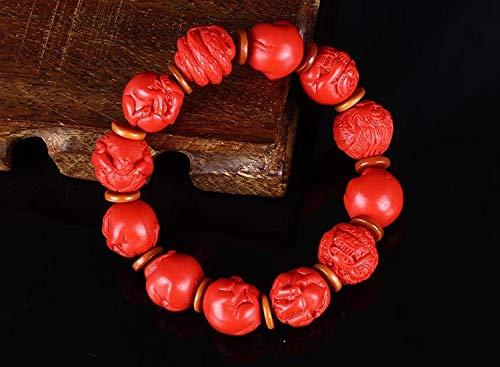Light 14 Zodiac Pendant - Zodiac Sculpture Buddha Beads Lucky Bracelets | Wooden Beads Round Bead Money Drawing Bracelets (14mm)