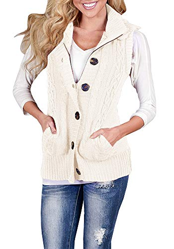 YOMISOY Womens Cardigan Sweaters Sleeveless Button Down Chunky Knit Hooded Warm Vest with - Chunky Vest