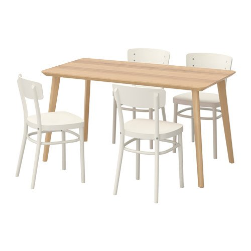 Ikea Table and 4 chairs, ash veneer, white 10204.20514.3414