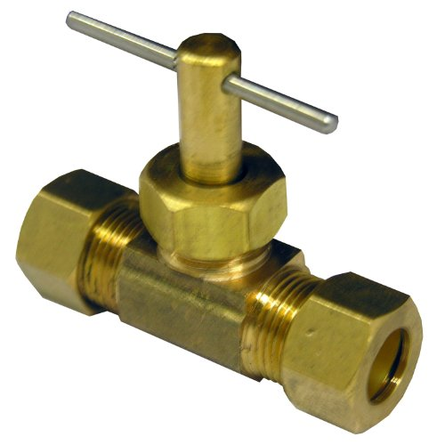 LASCO 17-1531 3/8-Inch Compression by 3/8-Inch Compression Straight Brass Needle Valve