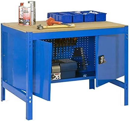 Banco de trabajo con armario BT0 Simonwork Azul/Madera Simonrack ...