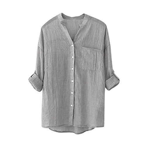 - IEason Women Short Blouse, 2017 Women Cotton Solid Long Sleeve Shirt Casual Loose Blouse Button Down Tops (S, Gray)