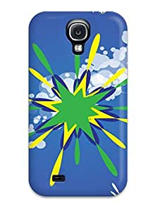 High Grade NicleKLpe Flexible Tpu Case For Galaxy S4 - Artistic Freevector Green Star Design