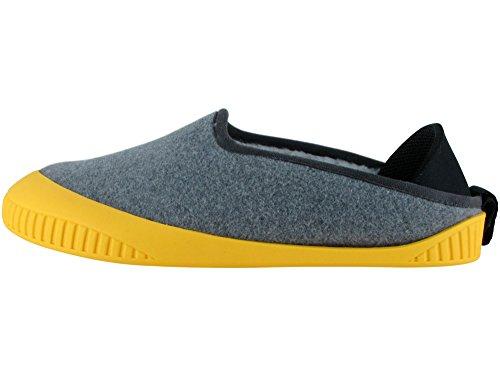 Pantofola Classica Unisex Kyzyz Con Suola Amovibile Grigio Chiaro / Giallo
