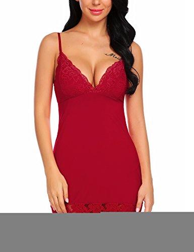 ADOME Women Full Slip Lingerie V Neck Babydoll Cotton Chemise Dark Red - Cotton Chemise Lace