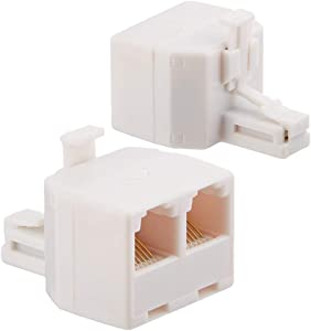 Uvital RJ11 Duplex Wall Jack Adapter Dual Phone Line Splitter Wall Jack Plug 1 to 2 Modular Converter Adapter for Office Home ADSL DSL Fax Model Cordless Phone System, White(2 Packs)