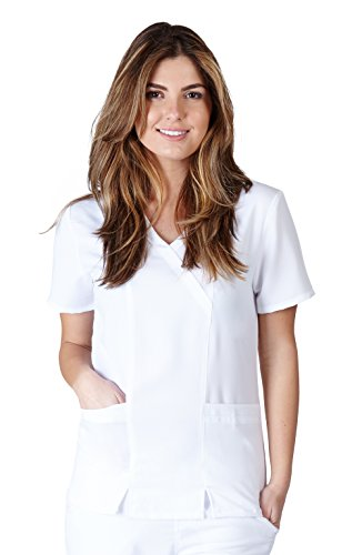 Ultra Soft Scrubs - Womens Junior Fit Two Pocket Cross Over Tunic Scrub Top, White 38801-Small - Pocket Crossover Scrub Top
