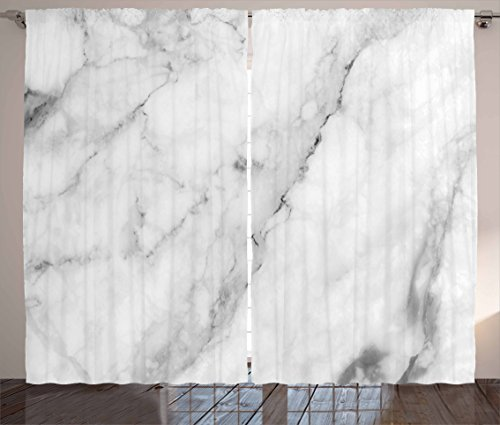 Ambesonne Marble Curtains, Granite Surface Motif with Sketch Nature Effect and Cracks Antique Style Image, Living Room Bedroom Window Drapes 2 Panel Set, 108 W X 63 L Inches, Grey ()