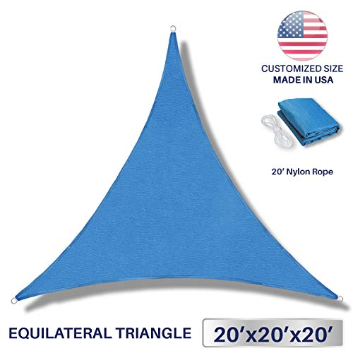 Windscreen4less 20 x 20 x 20 Triangle Sun Shade Sail – Ice Blue Durable UV Shelter Canopy for Patio Outdoor Backyard – Custom