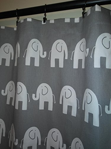 White Elephants On grey Curtains panels 2 Drapes 54