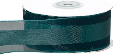 "5 Yds Dark Green Striped Satin Sheer Ribbon 1 1//2/""W"