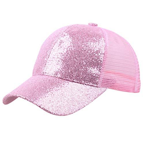 (Women Girl Ponytail Baseball Cap Sequins Shiny Messy Bun Snapback Hat Sun Visors Caps Pink)