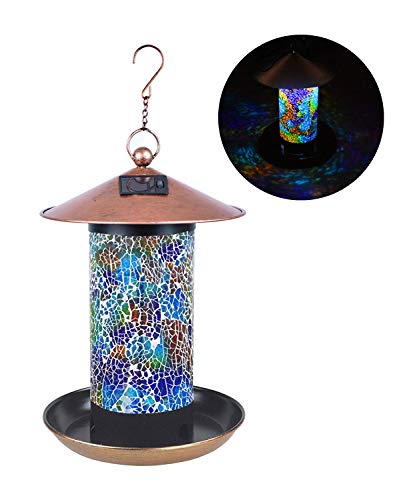 FYCO's Handcrafted Birdfeeder Stained Glass Mosaic Hanging Outdoor Garden Décor with Solar Power Energy LED Light Waterproof Unique Gift (Rainbow)