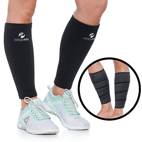 Calf Compression Sleeve Socks and Leg Wraps (4 Pack) - Shin Splint Support, Calve Guards for Men and Women - Braces Support Healthy Circulation Pain Relief for Running, Basketball, Cycling, Maternity