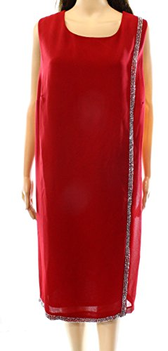 SLNY Womens Embellish Beaded-Trim Crewneck Shift Dress Red 16 Beaded Trim Shift Dress