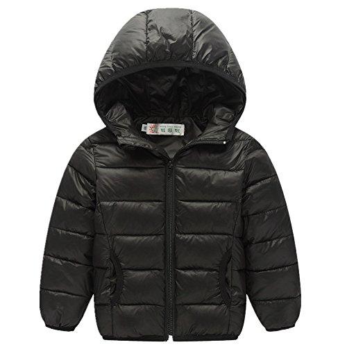 FTSUCQ Girls/Boys Windproof Warm Full Zip Down Coat Hooded Jacket,Black 120 (Crinkle Silk Pant)