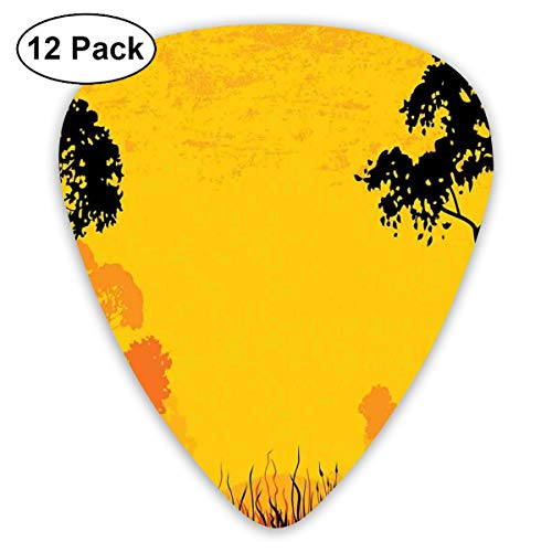 (Guitar Picks 12-Pack,Woodland At Sunset Silhouette Of Hills Forest Trees Grass Landscape Nature Art)