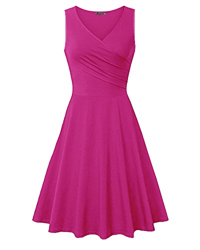 KILIG Women's V Neck Sleeveless Summer Casual Elegant Midi Dress(Rose,M)