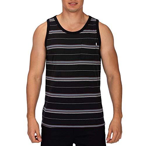 Hurley Men's Dri-Fit Harvey Stripe Tank Top, Black, Large (Tank Mens Tops Hurley)