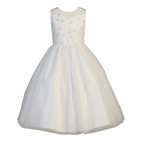 Lito Big Girls White Sparkled Tulle Beaded Holly Communion Dress 8