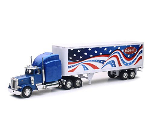 (New Ray New 1:32 NEWRAY Truck & Trailer Collection - Long HAUL Trucker Blue Peterbilt Model 379 Patriotic Truck Diecast Model Toys)
