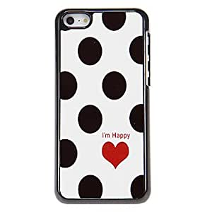 WQQ Black Dots redondas y modelo rojo del corazón del estuche rígido para el iPhone aluminoso 5C