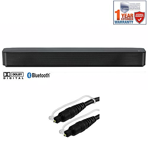 LG SK1 2.0-Channel Compact Sound Bar with Bluetooth - (SK1) + 6ft Optical Toslink 5.0mm OD Audio Cable + 1 Year Extended Warranty