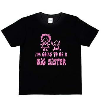 Print4u Girls T-Shirt I'm Going to Be A Big Sister Age 1-2 Black