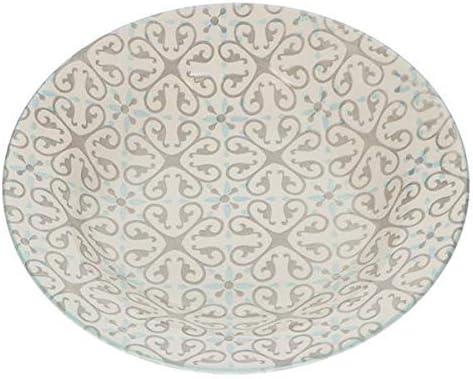 BRANDANI - Juego de 18 Platos de Mesa Alhambra, Color Gris/Tiffany ...