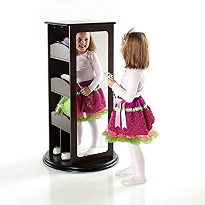 Guidecraft Rotating Dress Up Storage - Espresso: Spinning Closet for Kids with 2 Mirrors, Cubbies & Hooks - Dramatic Play Organizer for Toddlers Playroom: Home & Kitchen