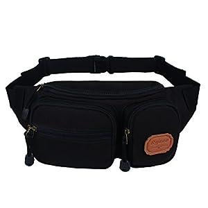 Ryaco [Canvas] R906 Waist Pack, Outdoor Sports Waist Bag, Bum bag, Sport Running belt, Exercise Runner Belt, Fitness Workout Belt, Race Belt, Fanny Pack, Workout Pouch, for Hiking, Climbing, Hunting