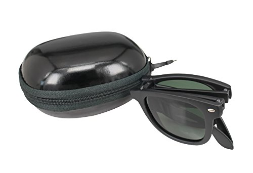 SOOLALA Limited Edition Horn Rimmed Polarized Folding Sunglasses with Compact Pocket
