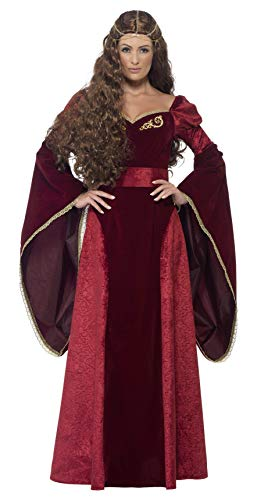 Smiffys Women's Medieval Queen Deluxe Costume, Dress, Belt and Headpiece, Tales of Old England, Serious Fun, Plus Size 18-20, 27877