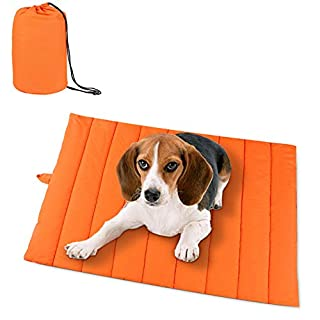 "AMOFY Pet Mats, 43""X27"", Exceptionally Hygienic, Non-Slip, Water Resistant, Comfortable and Portable, Machine Washable, Fit Indoor Outdoor Use for Dogs Cat Pet, Four Seasons Orange"