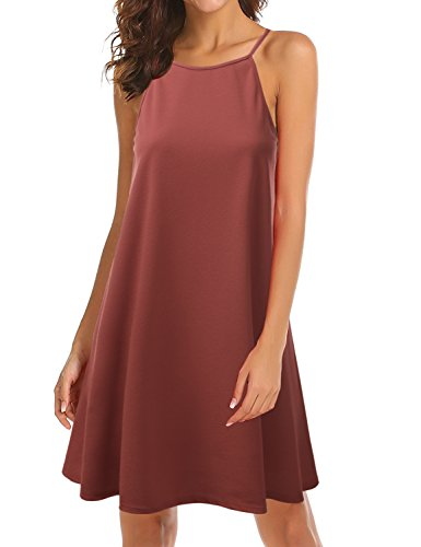 Awdsd0758 Dress Plus Swing Square Neck Size Women Neck rust Halter Doublju Pw64qxUgP