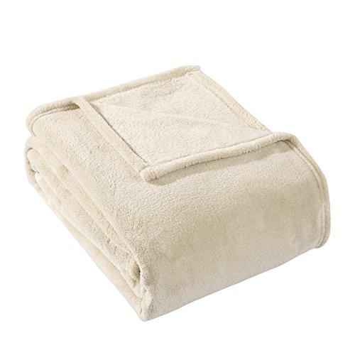 HYSEAS Coral Fleece Queen Size Plush Bed Blanket, Sand