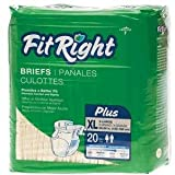 FitRight Plus Briefs,XX-Large, BRIEF, CLOTHLIKE, FITPLUS, XXL, 60-69'' - 1 CS, 80 EA